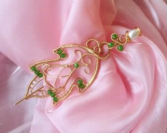 Leaf Shawl pin, Elven Leaf pin,  Greenery Elven brooch, wire brooch, wire leaf, elven jewelry, Cosplay jewelry, elvish jewelry