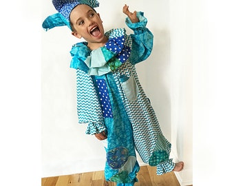 Ready to Ship: Child Size 5/6 Jester or Clown Costume (with Tricks)