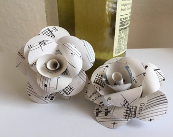 10 Vintage Sheet Music Roses-Weddings-Scrapbooking-Decor-Gift Toppers-Photo Props