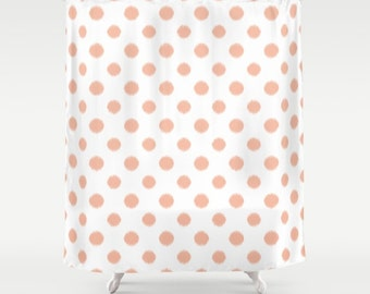 Shower Curtain, Peach Shower Curtain, Peach, Ikat, Polka Dots, Teen Shower Curtain, Girls Shower Curtain, Teen Decor, Bathroom Decor