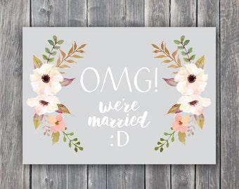 OMG we're MARRIED, omg card, omg announcement, Marriage Card, Wedding Card, We're getting married, Wedding announcement, We're married
