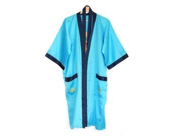 blue satin kimono with dragon