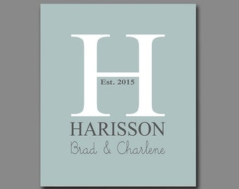 Family Name Sign - First Anniversary Gift - Monogram Initial - New Home Gift - Available in Any Color