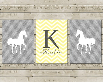 Girls Room Decor - Equestrian Art Prints - Personalized - Chevron Monogram Initial With Name - Set of Three Prints - Available in any Color