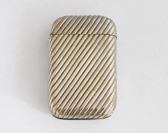 1920s Vintage French Vesta Match Case Brass Match Safe Pill Box