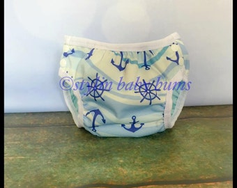 Nautical anchors, swim diaper size LARGE- FREE SHIPPING