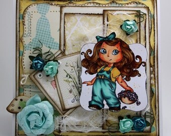 Girl picking flowers Card
