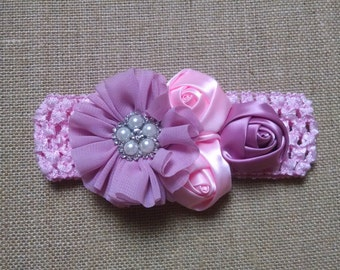 Baby Girl Headband, Rose Headband, Flower Headband, Pearl Headband, Baby Hair Accessory, Infant Headband, Baby Headband, Newborn Headband