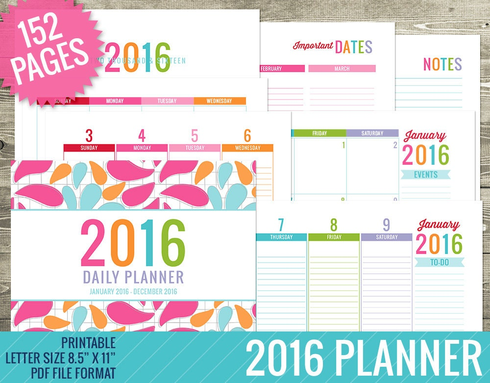 2016 Planner PRINTABLE PDF FILE Weekly Planner by TheNiftyStudio