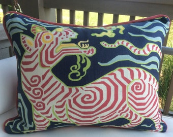 Clarence House pillow cover in Tibet Dragon(navy print)  Linen with hot pink cord and backing