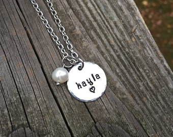 "Name ""kayla"" Necklace Hand-stamped with freshwater pearl & stainless steel chain"