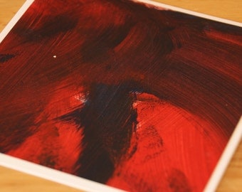 Hand painted abstract greeting card, note card, handmade acylic art card, blank inside - Embers V