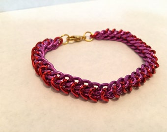 Purple and Red Chain Bracelet