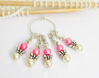 Pink/cream butterfly crochet stitch markers x 5,crochet gifts,gift for crocheters,butterfly markers,crochet accessories/tools