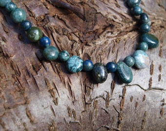 Earth & Ocean - Green / Blue Gemstone Necklace - jasper and crysocolla - OOAK / One-off