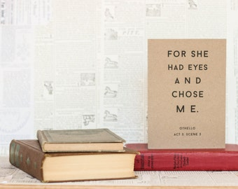 For She Had Eyes and Chose Me Othello Love Card: Brown Kraft Paper