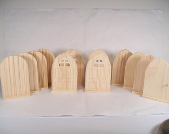 Set of 12 DIY Fairy Door or Tooth Fairy Door Unfinished Wood  -  Freestanding, ready to complete with paint or other medium