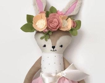 Deer Rag Doll Girl, Rag Doll, Deer Stuffed Animal, Deer Doll, Cloth Doll, Fabric Doll, Doll Clothes, Easter Basket