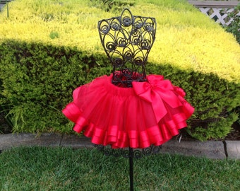 Red Ribbon Tutu, Sewn Ribbon Trimmed Tutu, Girls Tutu, Tutu For Girls Party/Birthday/Photo