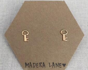 Tiny Key Stud Earrings in Gold. Sterling Silver Posts. Skeleton Key Studs. Stud Earrings. Key Jewelry. Gifts Under 15.