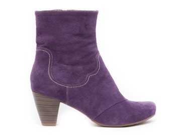 Purple Leather Boots, Purple Boots, Riding Boots, Leather Booties, Cowboy Boots, Suede Boots , Free Shipping