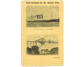 Forth Bridge Scotland antique postcard | SS Columbia Anchor Line cruise ship | 1900s nautical decor | Scottish vacation travel postcard