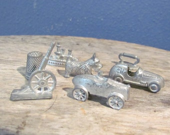 Vintage 1970's Monopoly Game Pieces Set of Seven Cast Metal