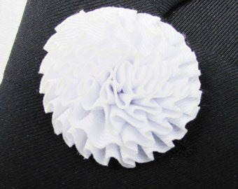 White Flower Silk Boutonniere With 2 Inch Stick Lapel Pin