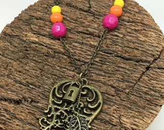 Eclectic Beaded Antiqued Charm Pendant Necklace