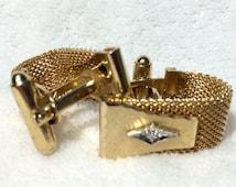 Vintage Anson Gold Mesh Wrap around Cuff Links