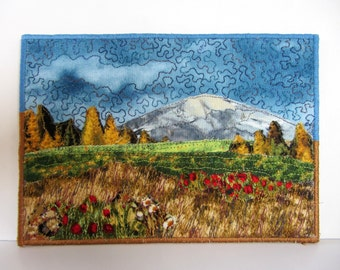 Mountain Art Card, Landscape Quilt, Fabric Postcard, Quilted Card, Textile Art, Fabric Collage, Mountain Quilt, Fall Card, Mini Fabric Art