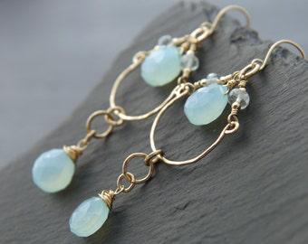 Bohemian Earrings, Aqua Chalcedony, Chandelier Earrings, Gold Fill,  Gemstone Earrings, Aqua Earrings, Dangle Earrings, Heart Briolette
