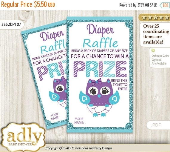 girl owl diaper raffle tickets printable for by