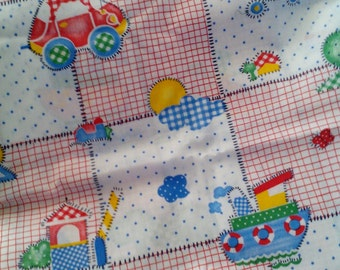 Vintage Tug Boat Patchwork Fabric 1+ Yard Unused