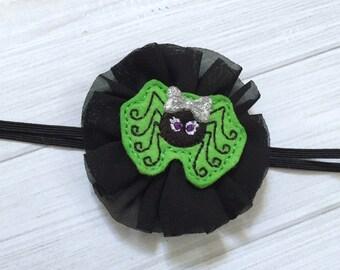 Halloween headband, spider headband, halloween baby headband, halloween hairbow