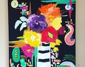 """Original abstract painting by Rita Ortloff 24""""x30""""x2"""" - """"Stop and Smell 'Um"""""""