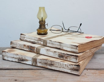 ON SALE - Set of 3 books unbound Vintage wrapped with twine, rustic design, furniture country house.