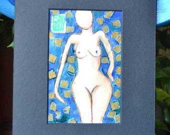 Blue Marie Anne,  Inspired by goddesses, watercolor, mixed media.