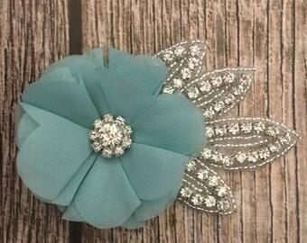 Light teal hair clip, rhinestone hair clip, flower girl hair clip, wedding hair clip, hair clip, bling clip, rhinestone clip, flower girl
