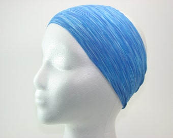 Blue Striped Polyester Spandex Headband | Non-Slip | Comfortable | Wicking | Washable | Workout Running Cycling Yoga Fashion