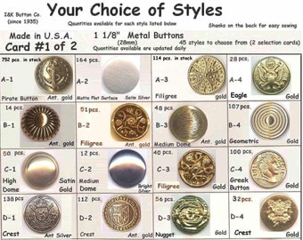 """8 Metal 1 1/8"""" Buttons Silver Antique Pirate Gold 28mm- Halloween Costumes School Plays-Your Choice - Medieval Clothing Renaissance Faire"""