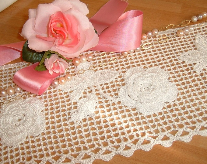 Featured listing image: Lace crochet edging for application of bunches of roses in Ireland. Lace Italy tradition. Lace edge.  To order.