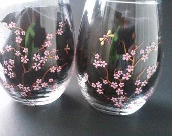 Hand Painted Wine Glasses, Stemless Wine Glasses, Cherry Blossom Wine Glasses, Decorative Wine Glasses