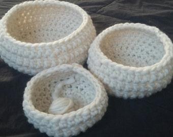 3 wool crochet nesting bowls