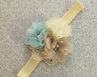 Infant Ivory Baby Headband-Newborn Baby Headband-Baby Blue-Tan-Baby Girl Headband-Coming Home Outfit-Lace Headband-Shower Gift-Newborn Baby