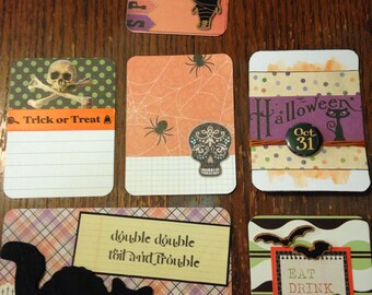 Small set of handmade project life cards- halloween