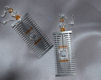 Sci Fi Computer Chip Earrings