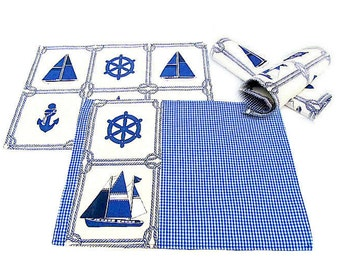 Blue nautical sailboat reversible placemat – Set of 2,4,6 sailing checker fabric placemat – Beach coastal padded kitchen dining tablecloth