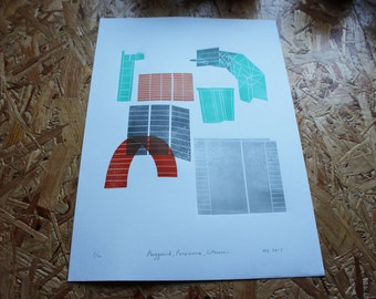 Limited Edition A3 lino print Playground, Panemune, Lithuania.