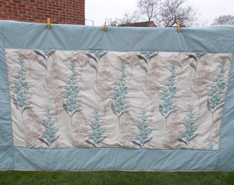 Duck egg and beige floral wholecloth quilt. Handquilted lap quilt or double bed runner  . Fabulous design. Ready to ship, free postage.
